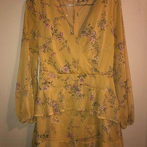 Nordstrom mustard floral wrap dress